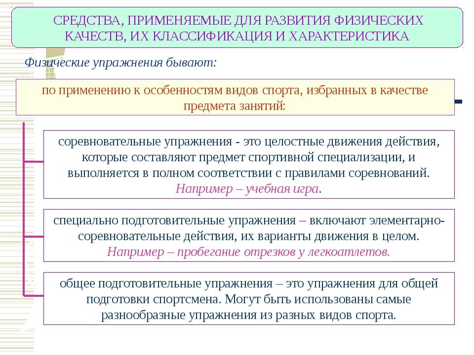 СРЕДСТВА, ПРИМЕНЯЕМЫЕ ДЛЯ РАЗВИТИЯ ФИЗИЧЕСКИХ КАЧЕСТВ, ИХ КЛАССИФИКАЦИЯ И ХА...