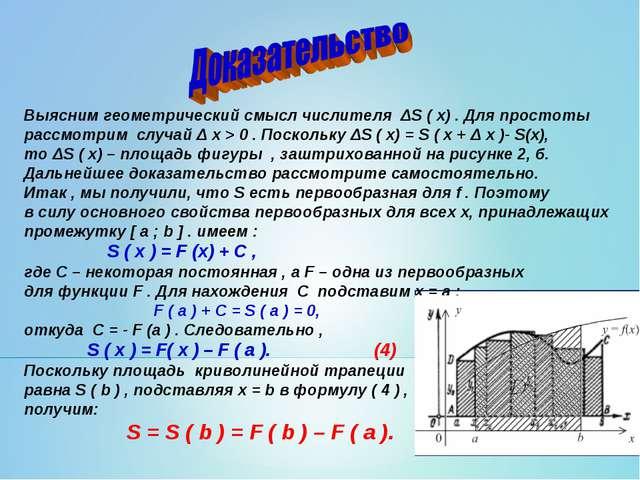 Выясним геометрический смысл числителя ΔS ( x) . Для простоты рассмотрим случ...
