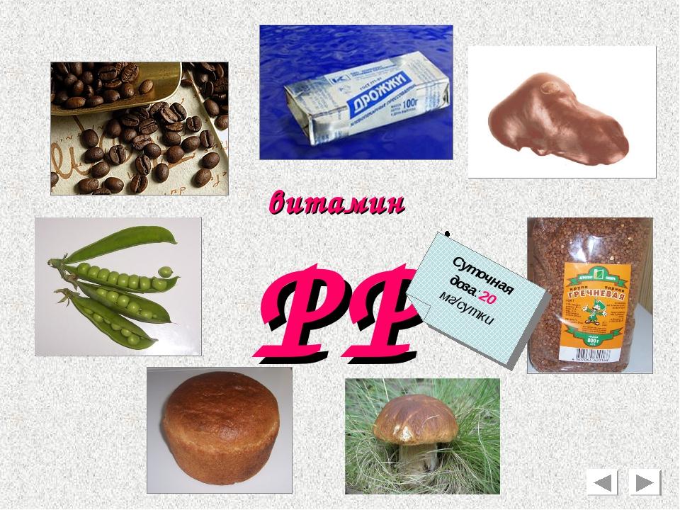 РР витамин Суточная доза:20 мг/сутки