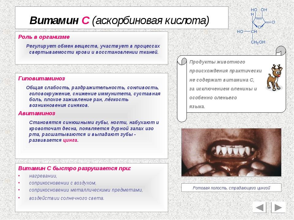 Витамин С (аскорбиновая кислота) Роль в организме Регулирует обмен веществ, у...