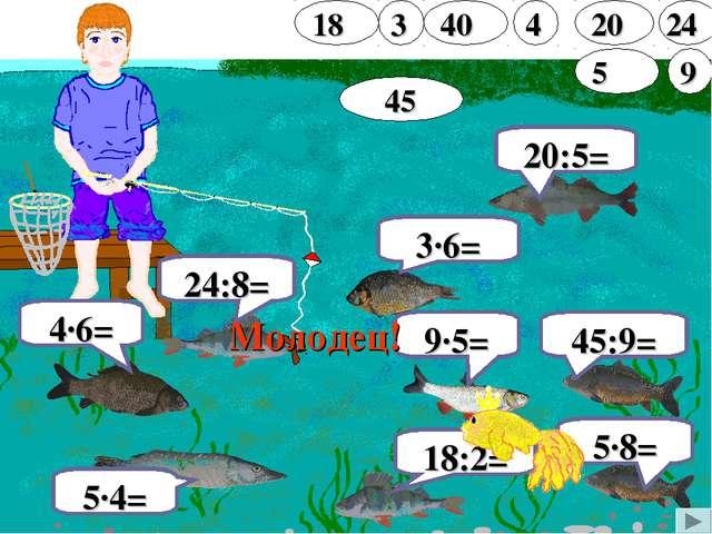 24:8= 4∙6= 5∙8= 9∙5= 5∙4= 20:5= 3∙6= 45:9= 18:2= Молодец!