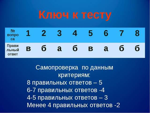 Ключ к тесту Самопроверка по данным критериям: 8 правильных ответов – 5 6-7 п...