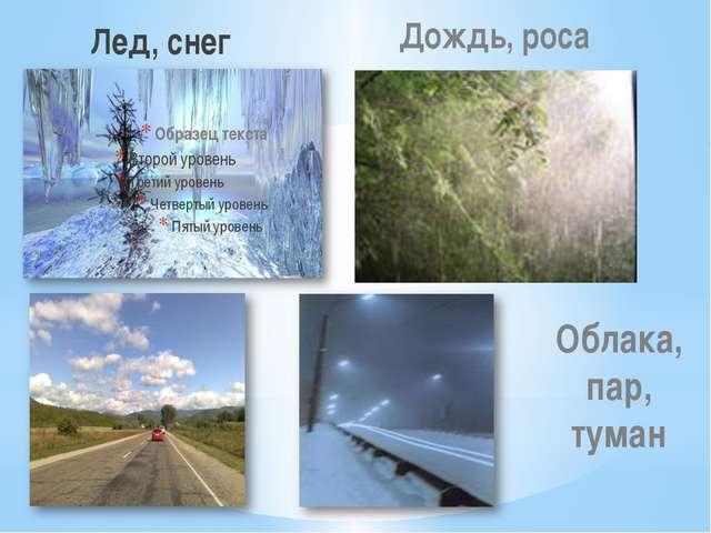 Лед, снег Дождь, роса Облака, пар, туман