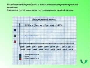 Исследования ФР проводилось с использованием антропометрической методики: дли