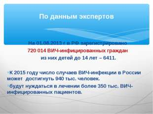 На 01.08.2013 г в РФ зарегистрировано 720 014 ВИЧ-инфицированных граждан из н