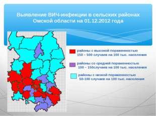 Выявление ВИЧ-инфекции в сельских районах Омской области на 01.12.2012 года р