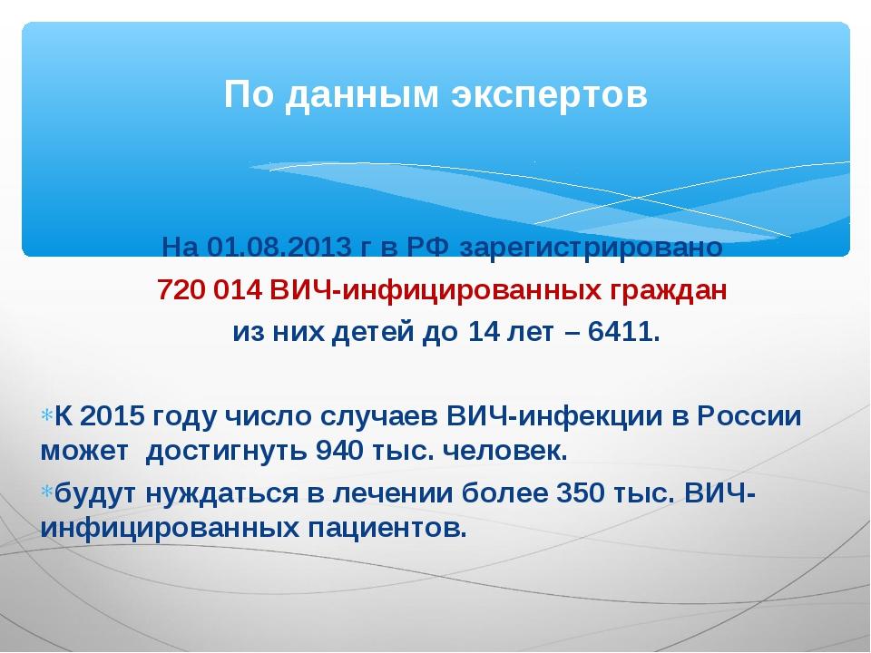 На 01.08.2013 г в РФ зарегистрировано 720 014 ВИЧ-инфицированных граждан из н...
