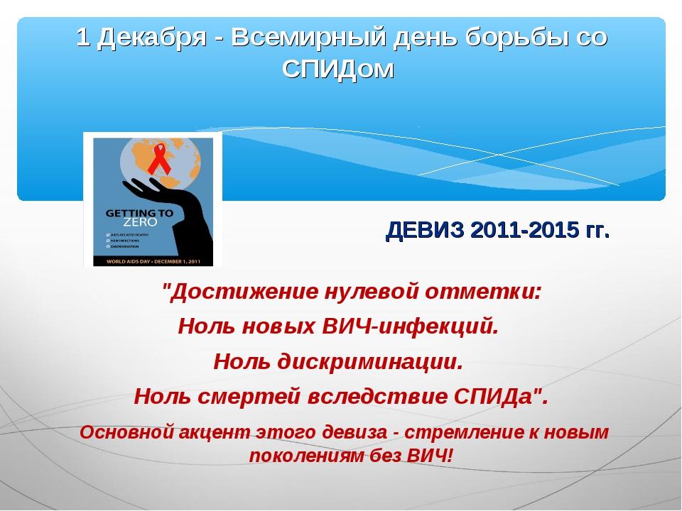 """ДЕВИЗ 2011-2015 гг. """"Достижение нулевой отметки: Ноль новых ВИЧ-инфекций. Нол..."""