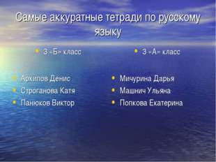 Самые аккуратные тетради по русскому языку 3 «Б» класс Архипов Денис Строгано