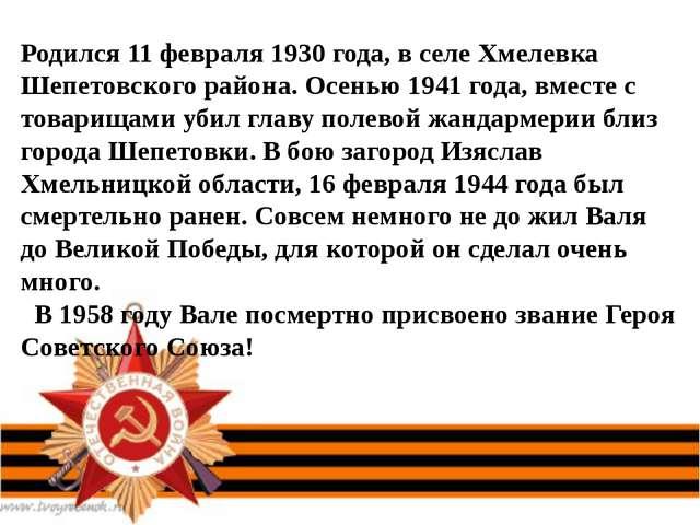 Родился 11 февраля 1930 года, в селе Хмелевка Шепетовского района. Осенью 194...