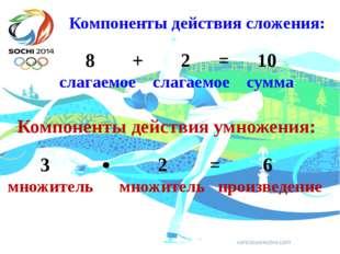 Компоненты действия сложения: 8 + 2 = 10 слагаемое слагаемое сумма Компонент