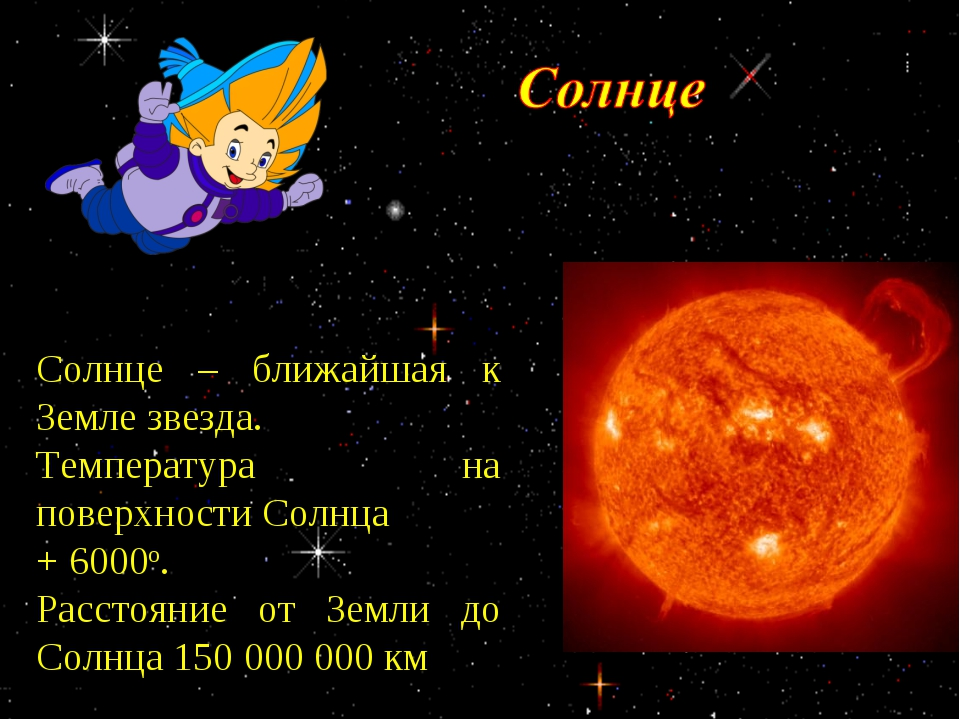Солнце – ближайшая к Земле звезда. Температура на поверхности Солнца + 6000о...
