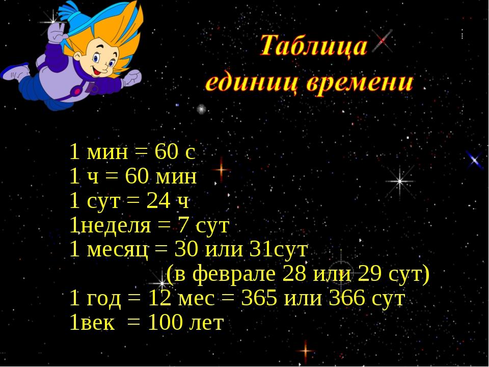 1 мин = 60 с 1 ч = 60 мин 1 сут = 24 ч 1неделя = 7 сут 1 месяц = 30 или 31су...