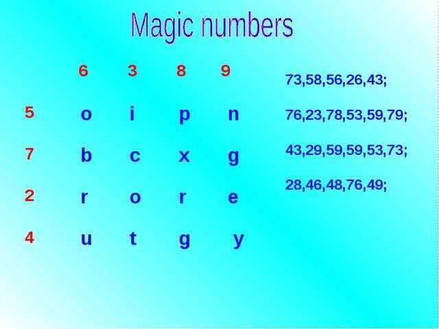 73,58,56,26,43; 76,23,78,53,59,79; 43,29,59,59,53,73; 28,46,48,76,49;  6 3...