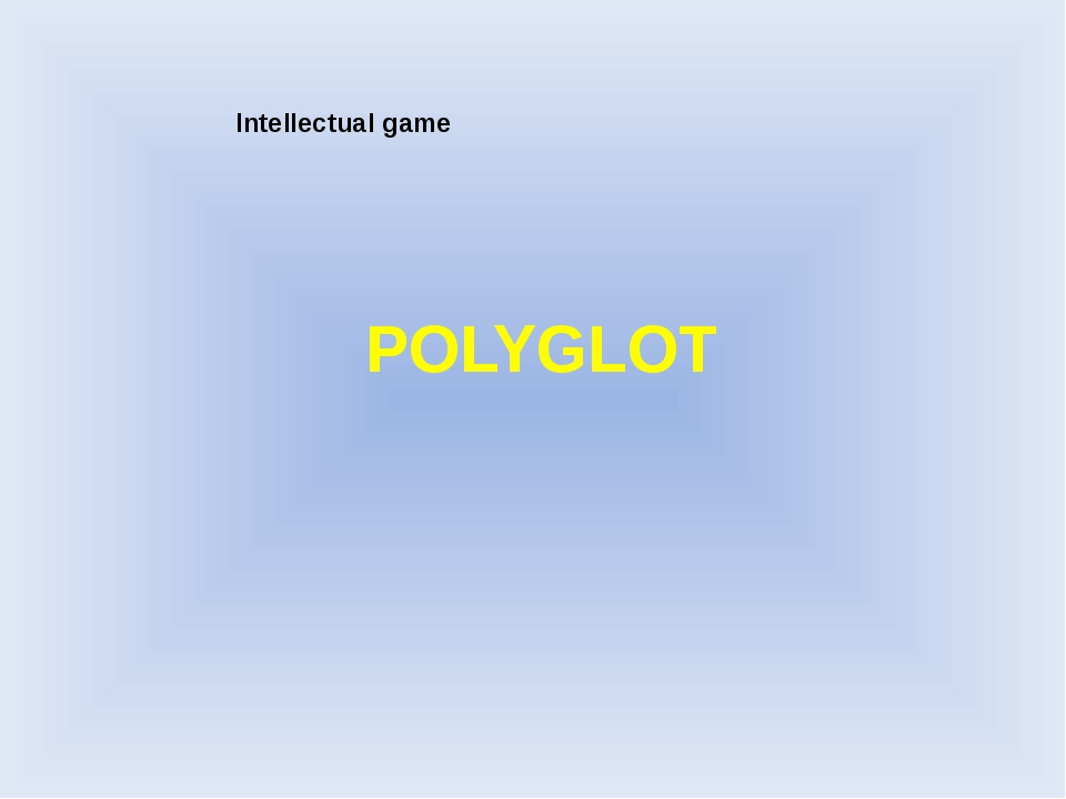 POLYGLOT Intellectual game