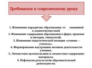 1. Изменение парадигмы образования: от знаниевой к компетентностной 2. Измен