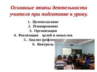1. Целеполагание 2. Планирование 3. Организация 4. Реализация целей и замысло