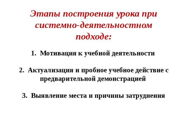 1. Мотивация к учебной деятельности 2. Актуализация и пробное учебное действ...