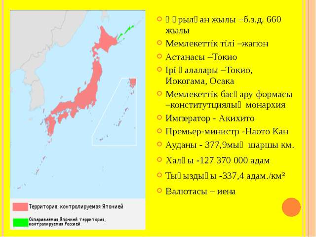 Құрылған жылы –б.з.д. 660 жылы Мемлекеттік тілі –жапон Астанасы –Токио Ірі қа...