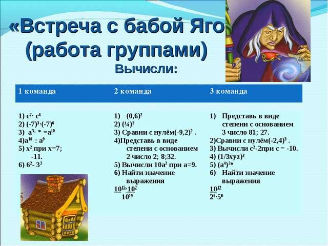 «Встреча с бабой Ягой» (работа группами) Вычисли: 1) с7· с4 2) (-7)3·(-7)6 3)...