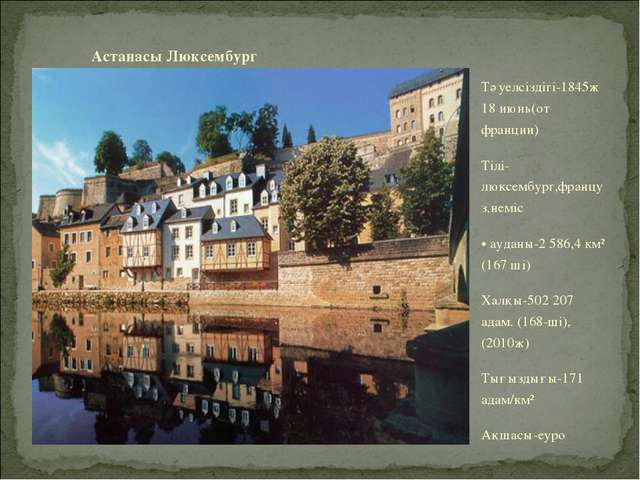 Астанасы Люксембург Тәуелсіздігі-1845ж 18 июнь(от франции) Тілі-люксембург,фр...