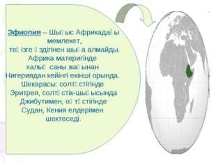 Эфиопия – Шығыс Африкадағы мемлекет, теңізге өздігінен шыға алмайды. Африка м