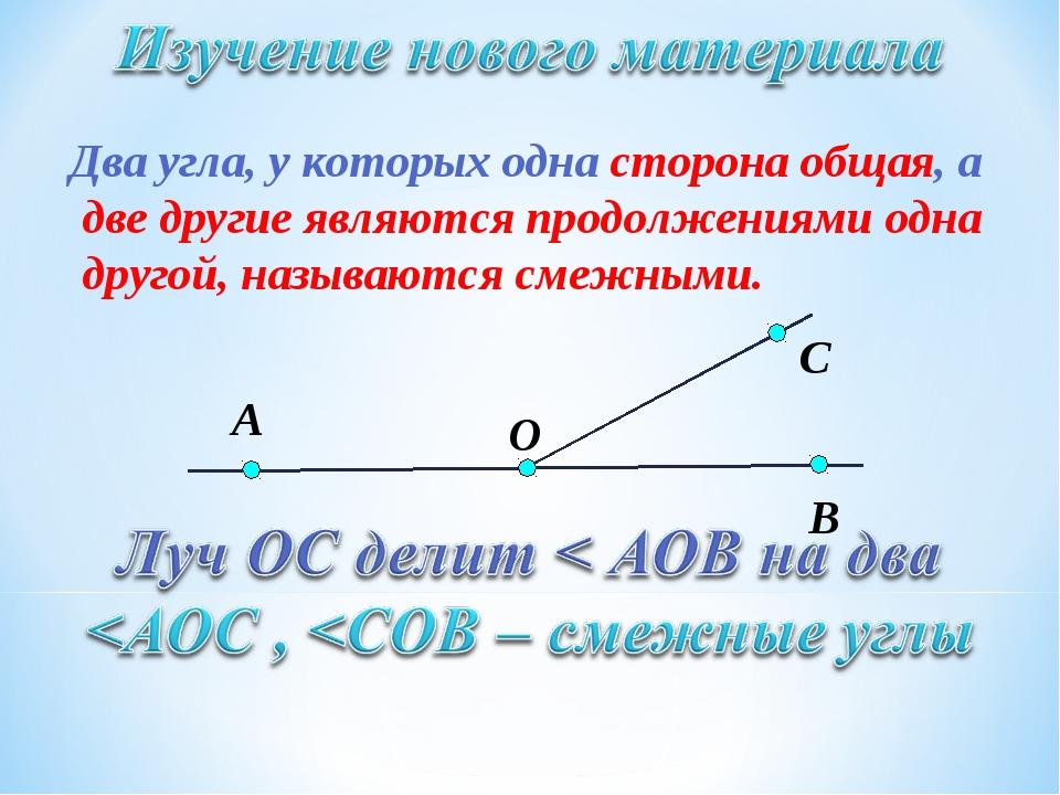 Два угла, у которых одна сторона общая, а две другие являются продолжениями о...