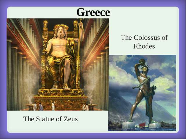 Greece The Statue of Zeus The Colossus of Rhodes