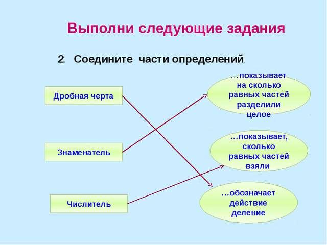 2. Соедините части определений. Выполни следующие задания Числитель Знамен...