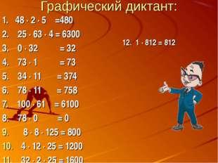 Графический диктант: 1. 48 ∙ 2 ∙ 5 =480 2. 25 ∙ 63 ∙ 4 = 6300 3. 0 ∙ 32 = 32