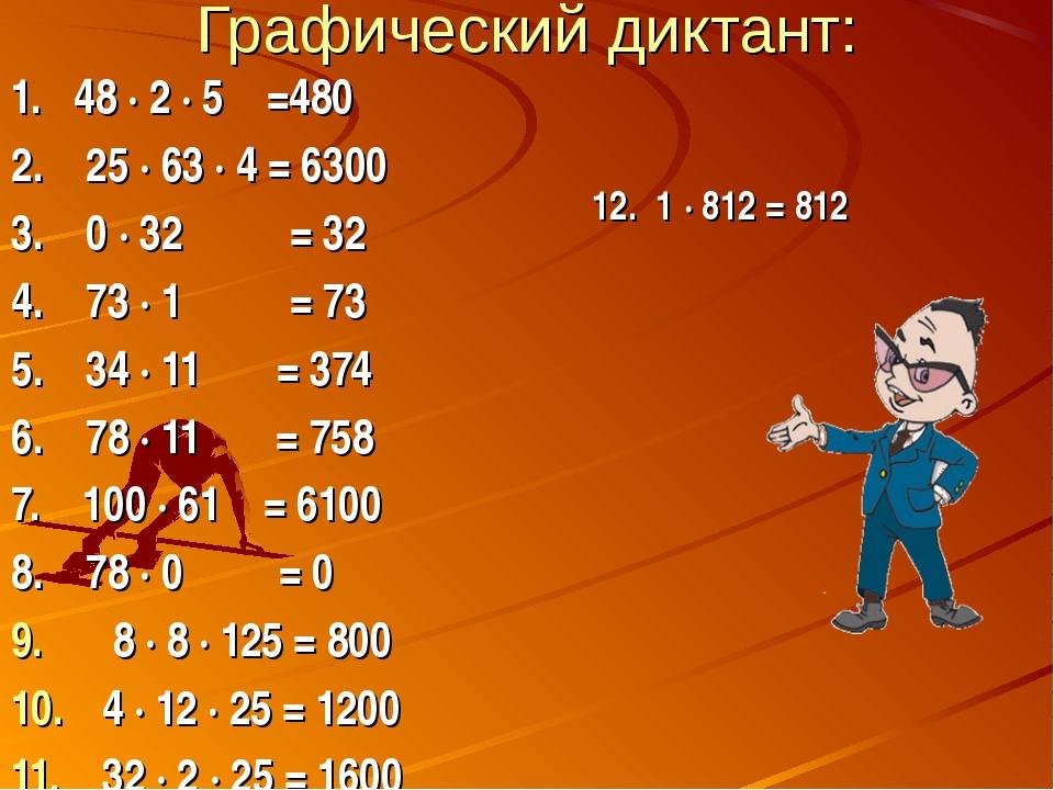 Графический диктант: 1. 48 ∙ 2 ∙ 5 =480 2. 25 ∙ 63 ∙ 4 = 6300 3. 0 ∙ 32 = 32...