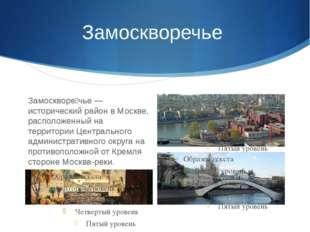 Замоскворечье Замоскворе́чье — исторический район в Москве, расположенный на