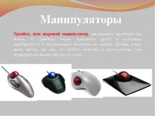 Манипуляторы Трекбол, или шаровой манипулятор, напоминает перевернутую мышь.