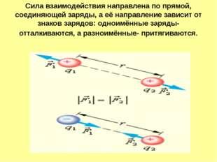 Сила взаимодействия направлена по прямой, соединяющей заряды, а её направлени