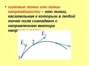 силовые линии или линии напряжённости – это линии, касательная к которым в лю