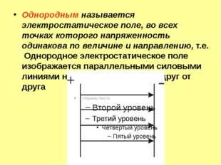Однородным называется электростатическое поле, во всех точках которого напряж