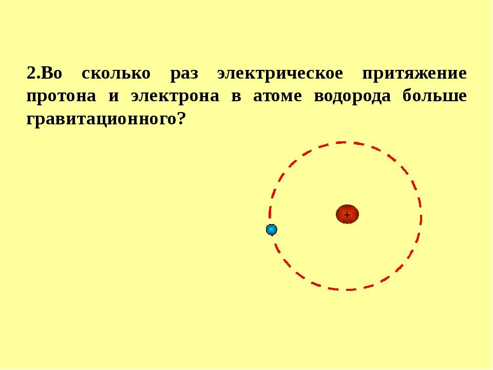 2.Во сколько раз электрическое притяжение протона и электрона в атоме водород...