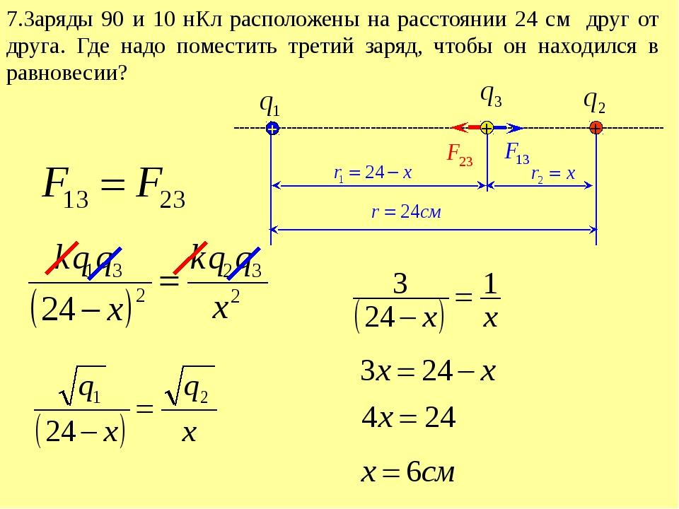 7.Заряды 90 и 10 нКл расположены на расстоянии 24 см друг от друга. Где надо...