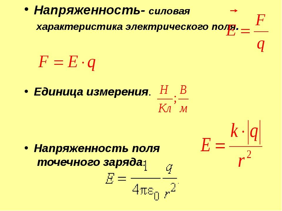 Напряженность- силовая характеристика электрического поля. Единица измерения....