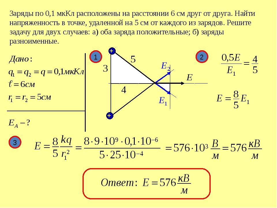 Заряды по 0,1 мкКл расположены на расстоянии 6 см друг от друга. Найти напря...