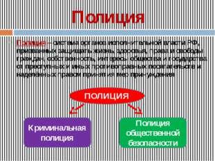 Полиция Полиция – система органов исполнительной власти РФ, призванных защища