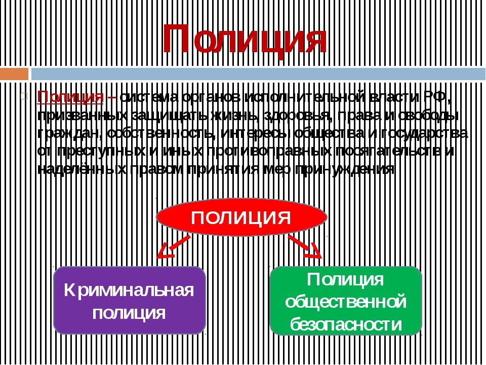 Полиция Полиция – система органов исполнительной власти РФ, призванных защища...