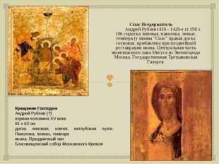 Спас Вседержитель Андрей Рублев1410 - 1420-е гг.158 x 106 смдоска липовая,