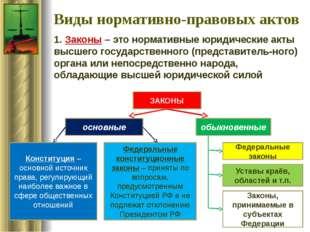 Виды нормативно-правовых актов 1. Законы – это нормативные юридические акты в