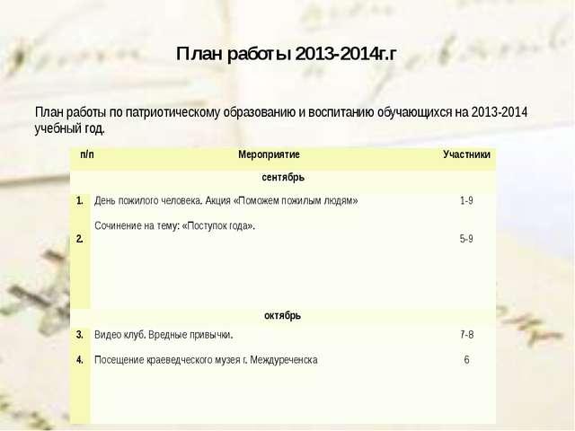 План работы 2013-2014г.г План работы по патриотическому образованию и воспита...