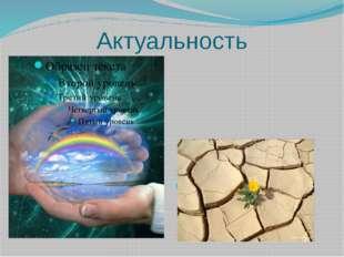 Актуальность Для человека вода по значимости занимает второе место после кисл