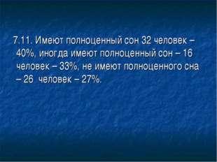 7.11. Имеют полноценный сон 32 человек – 40%, иногда имеют полноценный сон –