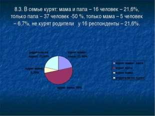 8.3. В семье курят: мама и папа – 16 человек – 21,6%, только папа – 37 челове