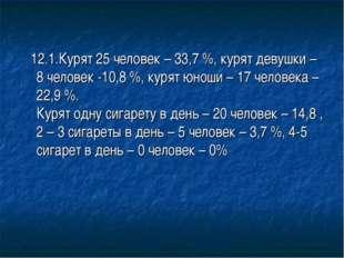 12.1.Курят 25 человек – 33,7 %, курят девушки – 8 человек -10,8 %, курят юно