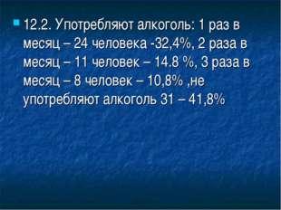 12.2. Употребляют алкоголь: 1 раз в месяц – 24 человека -32,4%, 2 раза в меся